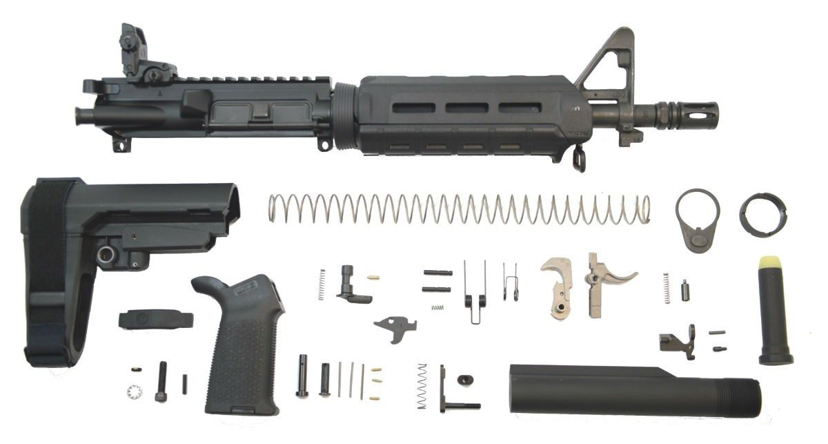 "PSA 10.5"" CARBINE-LENGTH 5.56 NATO 1/7 PHOSPHATE MOE EPT SBA3 PISTOL KIT WITH NIBR BCG & MBUS REAR"