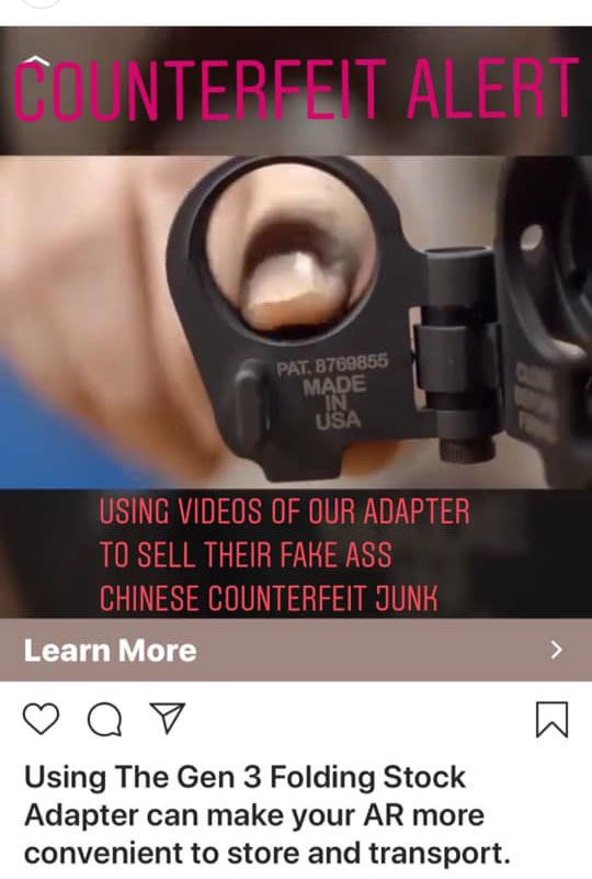counterfeit LAW Tactical Folding Stock Adapters